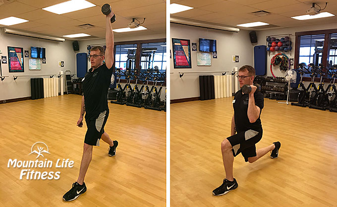 Lunges with unilateral press